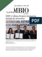 05-11-2014 Diario Matutino Cambio de Puebla - RMV y Liliana Romero Inauguran Tiendas de Artesanías