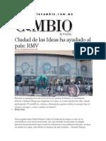 07-11-2014 Diario Matutino Cambio de Puebla - Ciudad de Las Ideas Ha Ayudado Al País, RMV