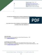 Análise de Critérios de Sucesso Em Projetos