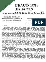 Natacha Michel Les Mots de Seconde Bouche Sur Roubaud Critique 1979