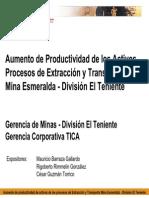 Aumento de Productividad de los Activos Procesos de Extracción y Transporte Mina Esmeralda - División El Teniente