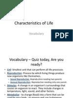 VOCAB-Characteristics of Life