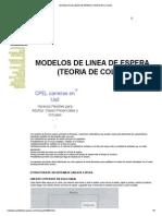 Modelos de Linea de Espera (Teoria de Colas)