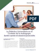 La Didactica Universitaria En El Contexto De La Andragogia
