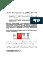 Número de líneas móviles postpago de Claro suman más del doble que Movistar y Entel