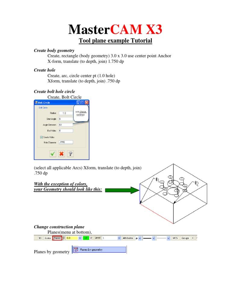 tool plane tutorial pdf machining drilling rh es scribd com Mastercam Training Mastercam Desktop