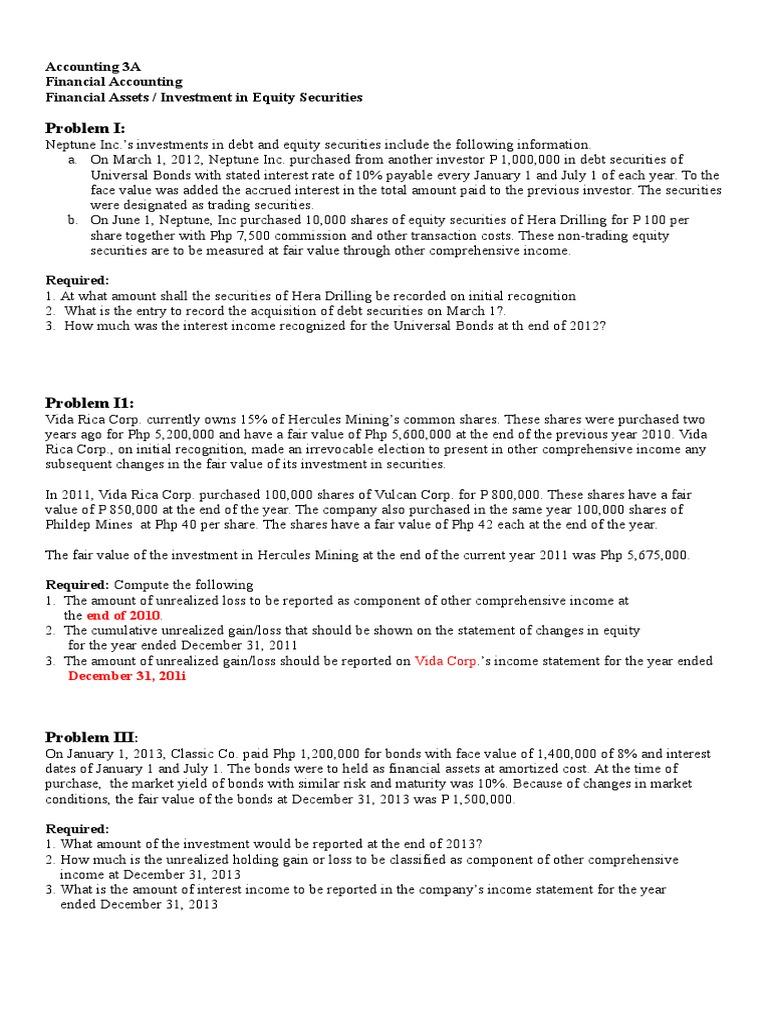 Acctg 3A Financial Assets | Securities (Finance) | Bonds (Finance)