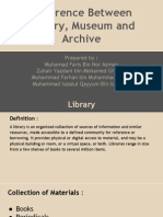 Presentation Difference Between A Library, Archive & Museum for UiTM Assignment