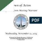 Acton Special Town Meeting Warrant Nov. 12, 2014