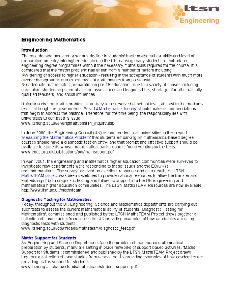 Modern Engineering Math Problems Examples Composition - Worksheet ...