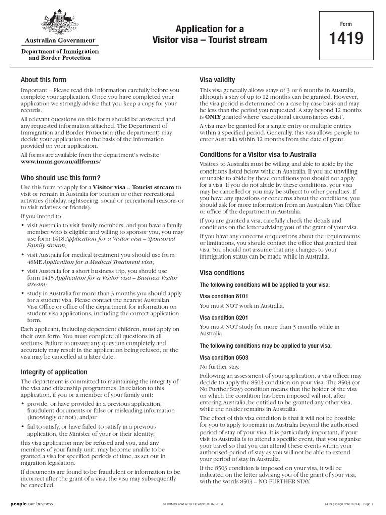 1419 tourist visa australia travel visa payments falaconquin