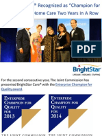 """BrightStar Care® Recognized as """"Champion for Quality"""" in Home Care Two Years in A Row"""