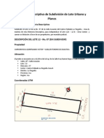 Memoria Descriptiva de Subdivisión de Lote Urbano y Planos