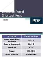 Microsoft Word ShortcutKeys