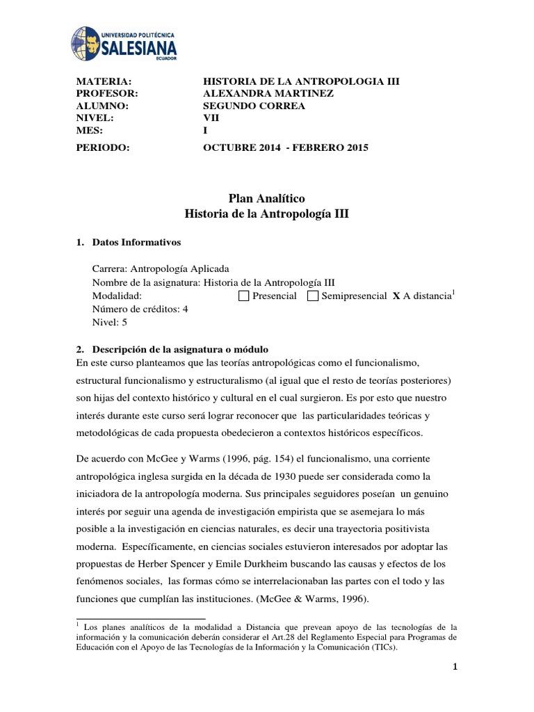 Mes 1 Historia De La Antropologia Iii Docx Antropología