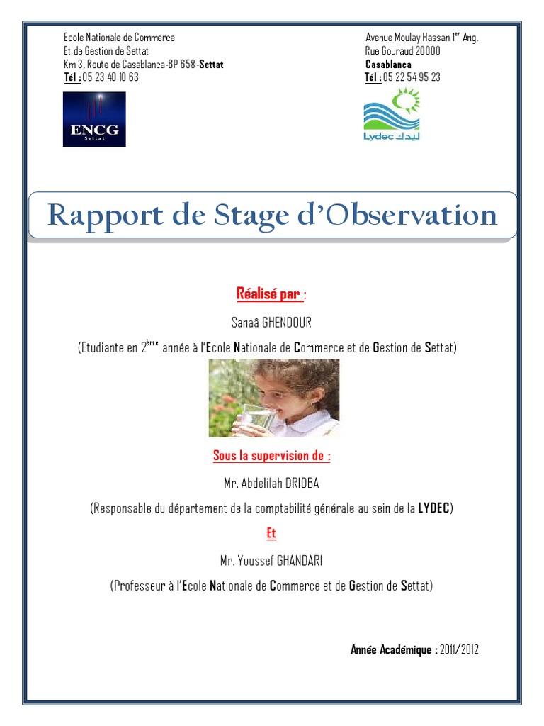 Rapport de stage sanaa r par for Stage de gestion chambre des metiers