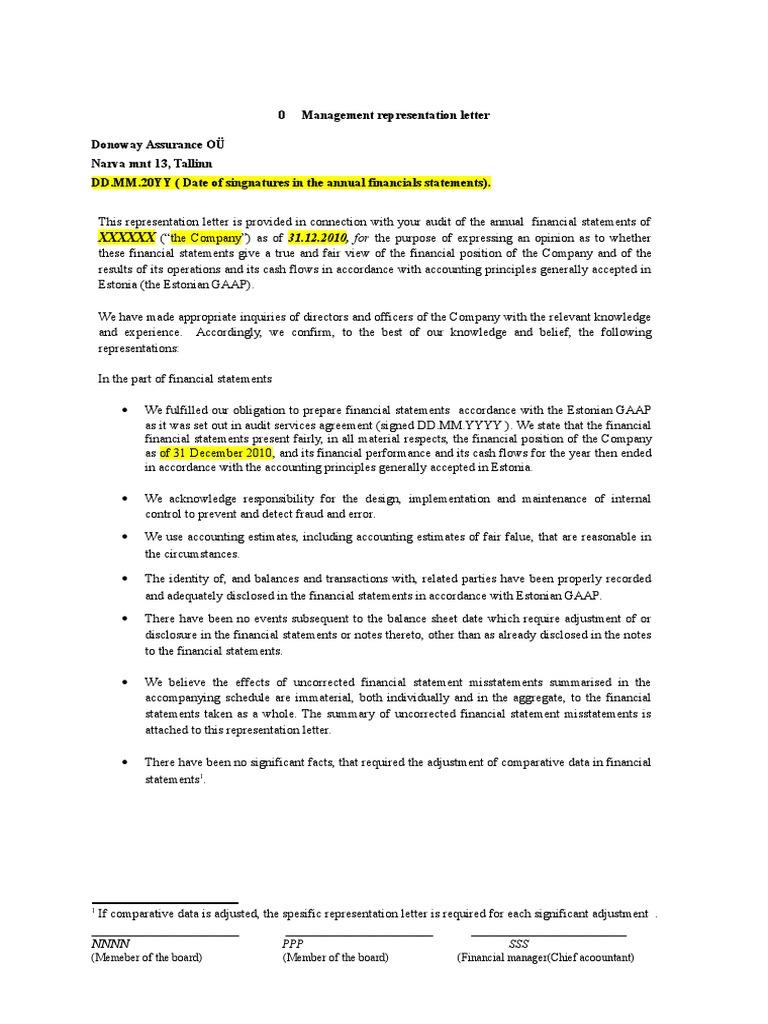 Dating management representation letter