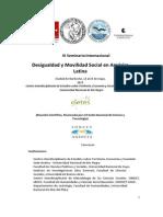 Primera Circular Seminario Internacional Desigualdad y Movilidad Social en America Latina