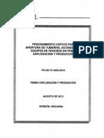 PG-SS-TC-0033-2013 Apertura de Tub, Acces y Equipos de Proceso en PEP