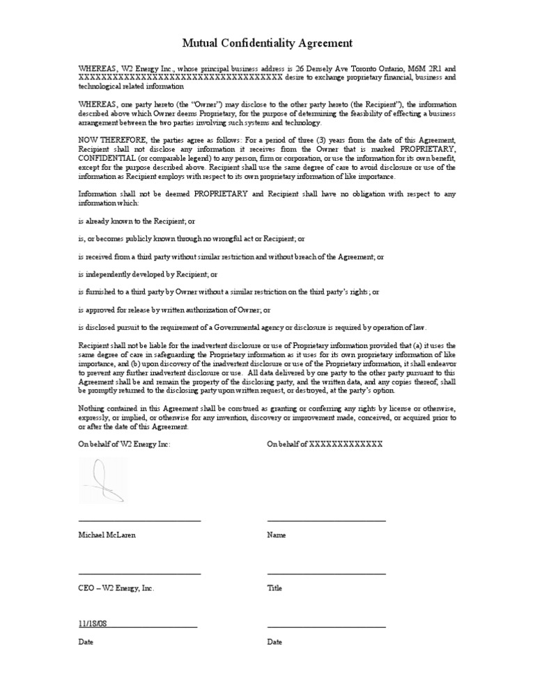 Mutual Confidentiality Agreement Non Disclosure Agreement