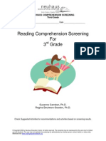 Reading Comprehension Screening 3rd Grade 81811