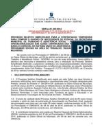 Edital SEMTAS Natal - Processo Seletivo Simplificado - Retificado 02