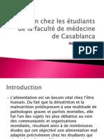 Nutrition Chez Les Étudiants de La Faculté De