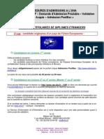 Procedure Admission Diplomes Etrangers 2014-2015