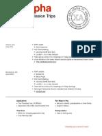 Info Sheets || Spring Break 2015