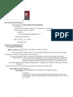 Example of European Standard CV (Contoh dari CV Standard Eropa)