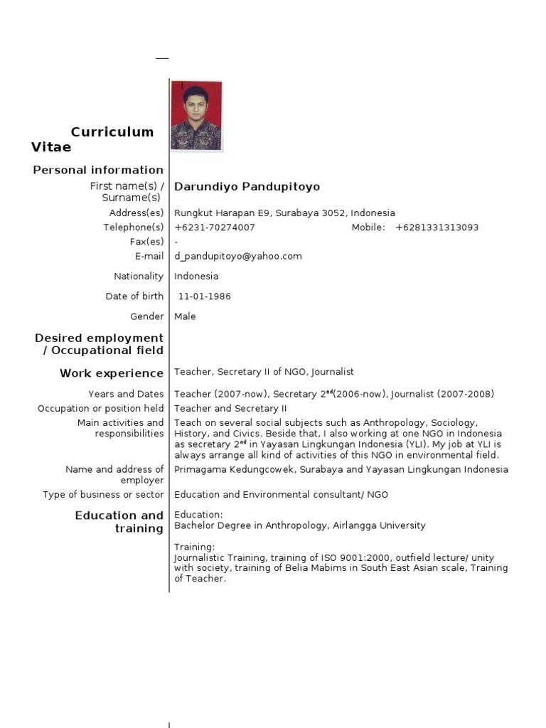 Example Of European Standard Cv Contoh Dari Cv Standard Eropa Teachers Indonesia