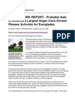 AGRICULTURE REPORT - Probable Sale of America's Largest Sugar Cane Grower Pleases Activists for Everglades
