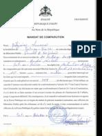 Mandat comparution contre Me Andre Michel par Lamarre Belizaire