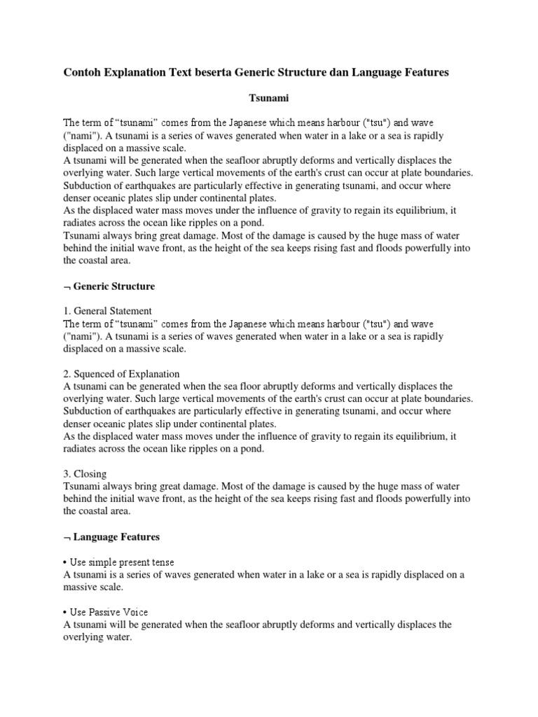 Contoh Explanation Text Beserta Generic Structure Dan Language