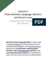Lecture 5 Proto Germanic Language Grimm Verner Law