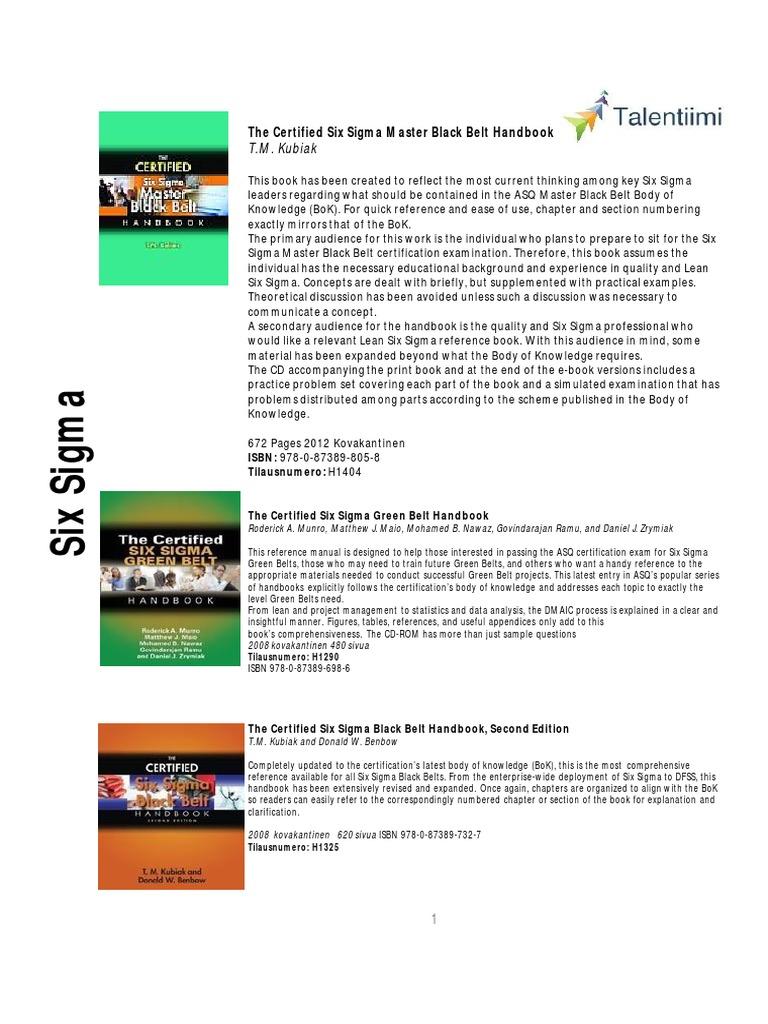 Download The Certified Six Sigma Black Belt Handbook Second Edition Pdf Free