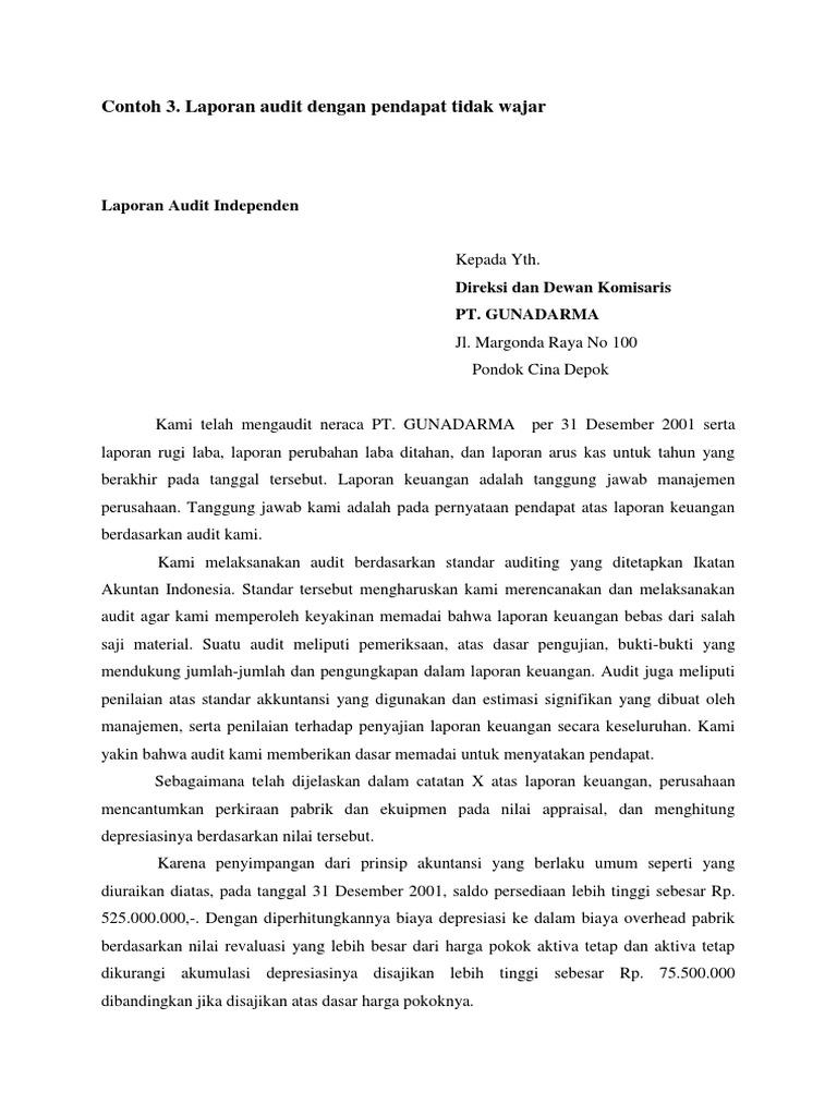 Contoh Laporan Audit Wajar Tanpa Pengecualian Dengan Paragraf Penjelasan Kumpulan Contoh Laporan