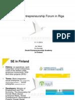 Iiro Niemi. Social Entrepreneurship in Finland.