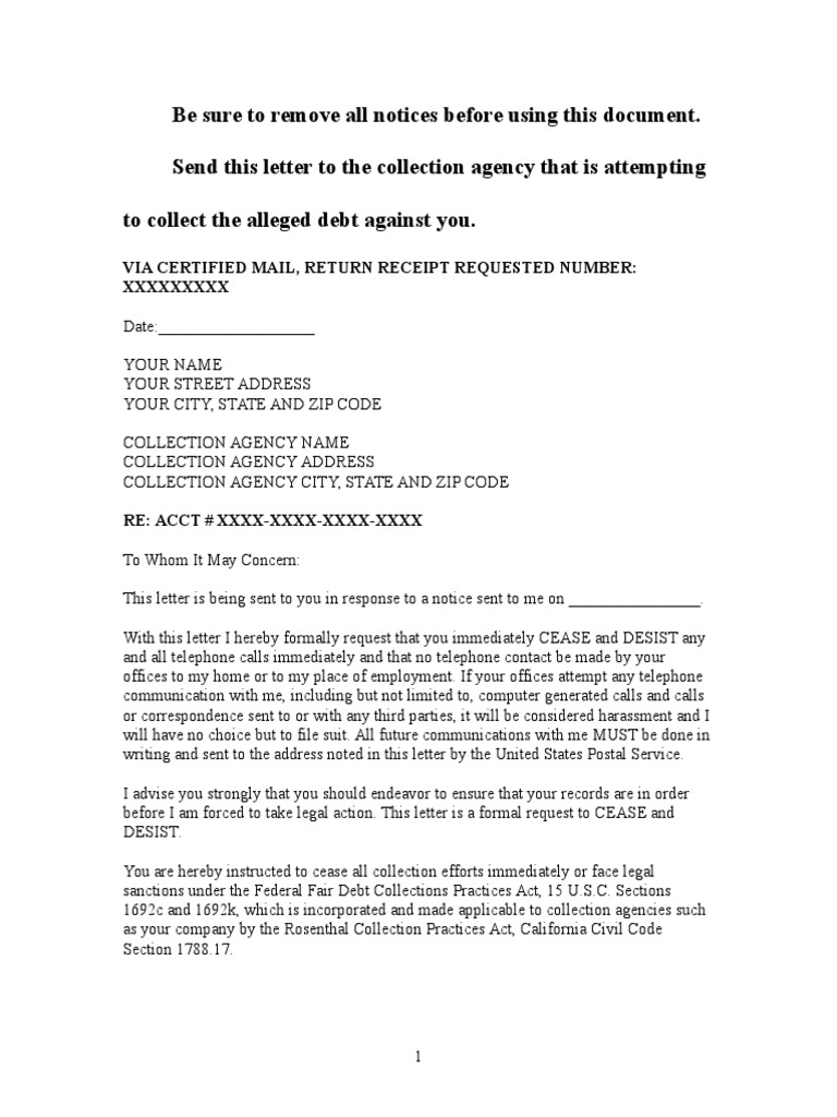 Awesome Sample Cease And Desist Letter To Collection Agency