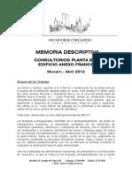 Memoria Descriptiva _ Consultorios Pb Edificio Anexo Frances