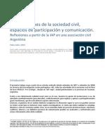Organizaciones de la sociedad civil, espacios de participación y comunicación. Reflexiones a partir de la IAP en una asociación civil Argentina