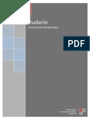 Dudario De Estructuras Comparadas En Inglés Y Español Verb