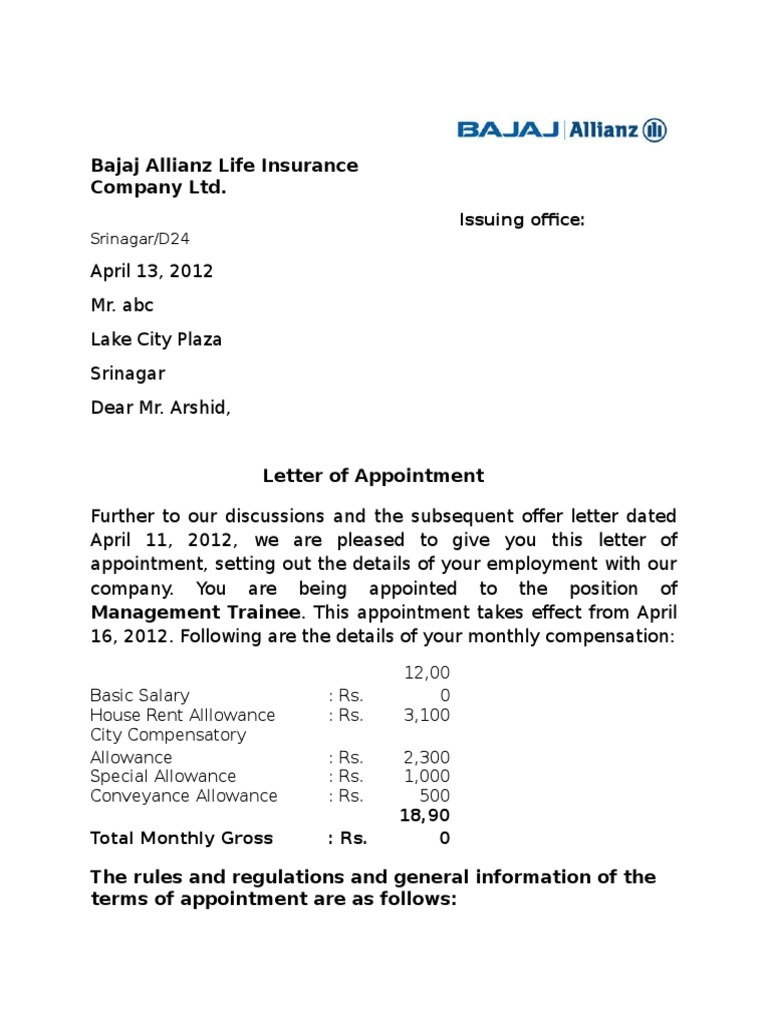 Appointment Letter Format For Bajaj Allianz Employment Salary