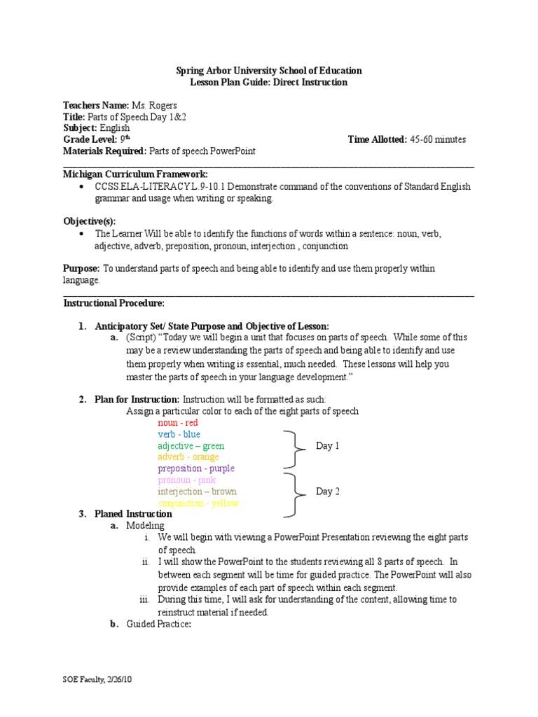 unit plan parts of speech | Part Of Speech | Verb