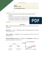 Plano de Aula - Calorimetria e Transferência de Calor