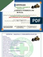 Certificado de Treinamento Nr -11 Operador de Retro Escavadeira
