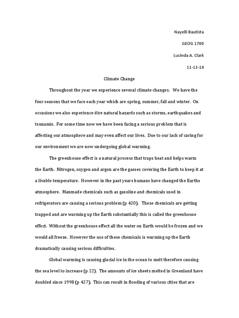 Personal Essay Thesis Statement Examples  Example Of A Good Thesis Statement For An Essay also Synthesis Essay Introduction Example Climate Essay  Global Warming  Climate Change Importance Of Good Health Essay