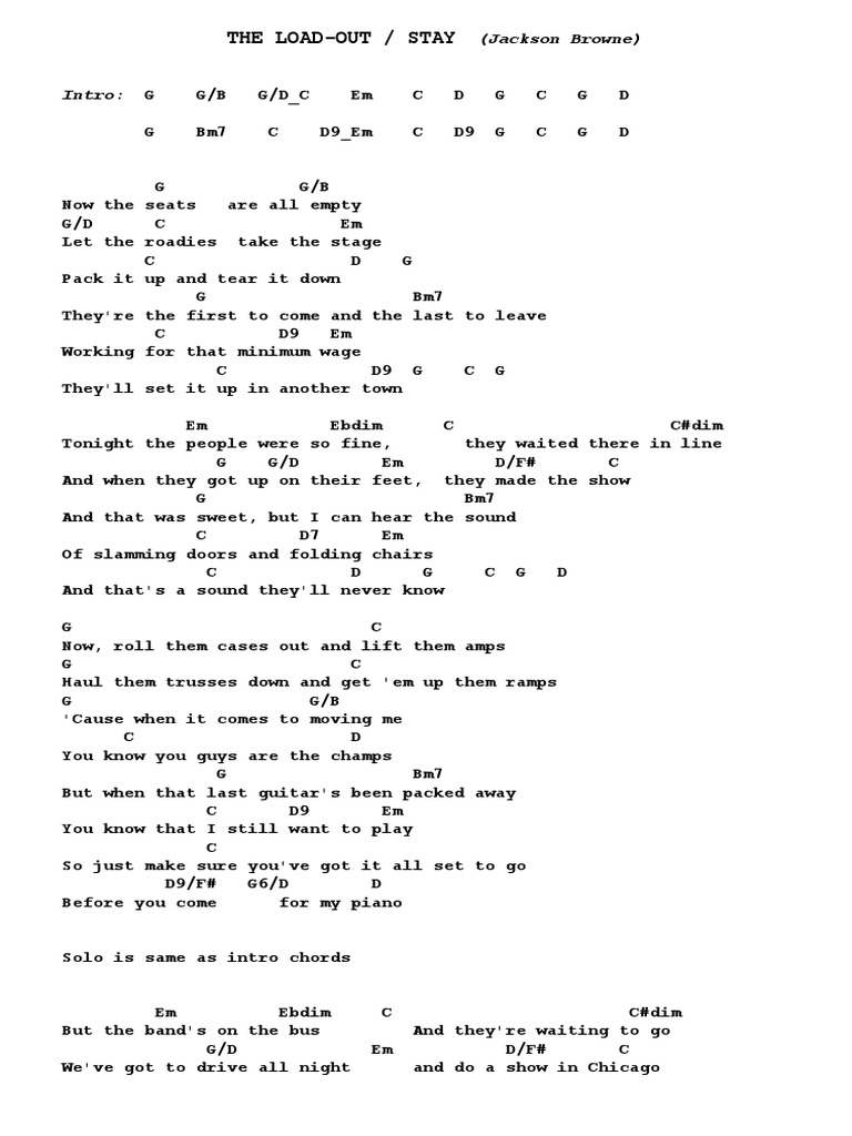 The Load Out Stay Jackson Browne Guitar Chords Pdf Recorded