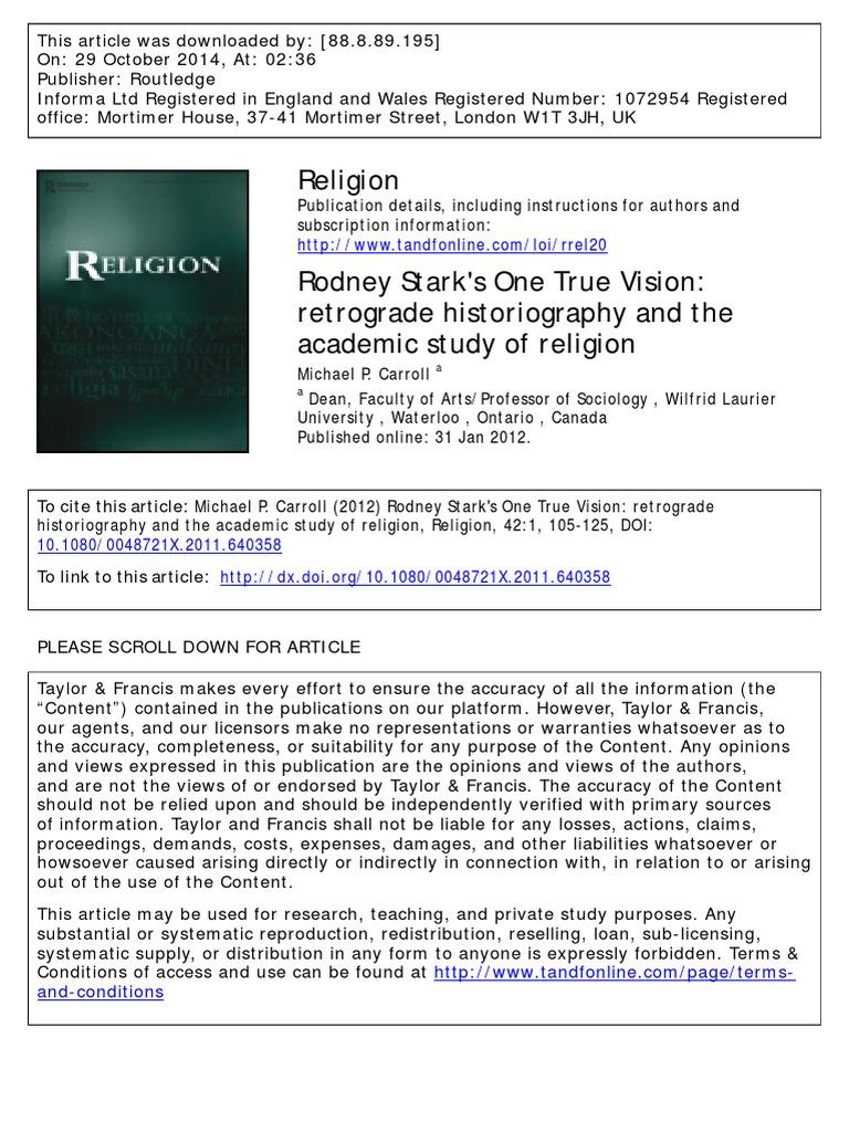 Carroll Rodney Stark Religion & Spirituality