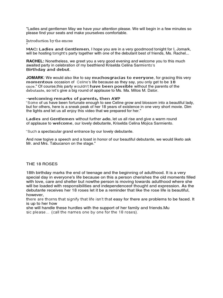 Debut emcee script introduction m4hsunfo